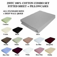 KINGDOM 100% COTTON COMBO - FITTED SHEET+ PILLOWCASES - 7 SIZES - 250TC - CKC250