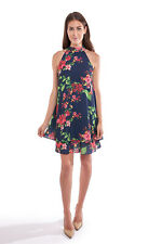 Joseph Ribkoff Womens 10 Navy Floral Tiered A Line Sleeveless Dress 192629 NEW
