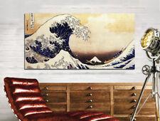 Quadro moderno Stampa su Tela Cotone cm.120x60 La Grande Onda Hokusai Arredo