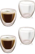 4er Set Doppelwandiges Trinkglas 200 ml | Thermo Glas | Kaffeetassen Wasserglas