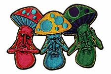 Mushroom No Evil See Hear Speak Embroidered Iron On Patch Applique