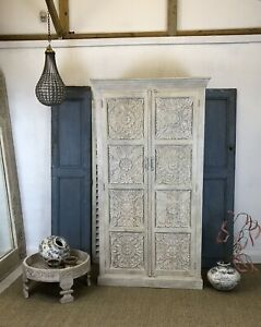 Hand Carved Armoire/ Wardrobe Whitewashed
