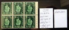 GB 1937 G.VI - ½d INVERTED/WMK Booklet Pane 1 Stamp Mounted SEE BELOW NJ488