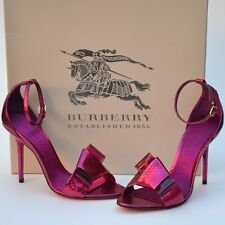 BURBERRY PRORSUM New sz 37.5 - 7.5 Snakeskin Womens Heels Sandals Shoes red $695