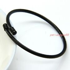 New Black Tone Women Stainless steel Cable Wire Bracelet Bangle Cuff Jewelry 3mm