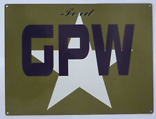 Jeep GPW military WWII garage metal sign