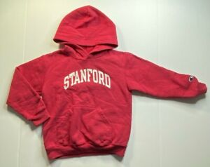 Stanford Boys Champion Hoodie Sweatshirt Red Athletic Long Sleeve Pullover S