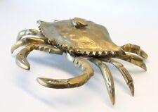 Large Mid Century Hollywood Regency Brass Crab Lidded Dish Sculpture Decor