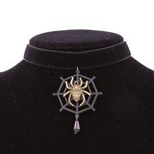 Halloween Black Velvet Spider Web Collar Choker Necklace Vintage Women Jewelry