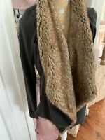 Hollister Women's Gray Faux Fur Sweater  Size Med Large