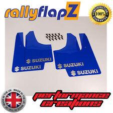 rallyflapZ SUZUKI IGNIS Sport 03-05  Mud Flaps   Blue Logo Silver (3mm PVC)