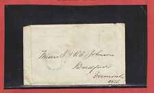 New Brunswick double split ring nude handstamp stamp less cover 1855 PAID 10 USA