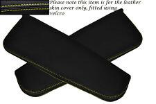 Yellow Stitching Fits Daihatsu Copen 2003 2x Sun Visors Leather Covers Only