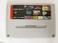130 in 1 Video Games - SNES Cart - for Super Nintendo - Gray / Red Shell - PAL