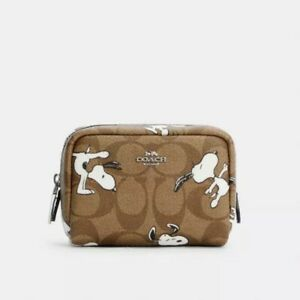COACH X PEANUTS MINI BOXY CANVAS COSMETIC CASE WITH SNOOPY PRINT C4595 Sold Out!
