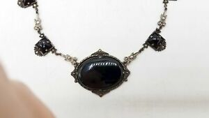 925 Silver Obsidian Marcasite Necklace TS910