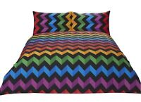 ZIG ZAG CHEVRON STRIPE ORANGE YELLOW COTTON BLEND DOUBLE DUVET COVER