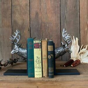 Reindeer Bookends with Black Wood Polished Aluminum Christmas Holiday