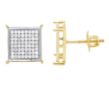 Mens 10K Yellow Gold Pave 4 Prong Square Real Diamond Stud Earrings 10mm .60CT