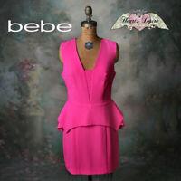 bebe Crepe Peplum Mini Dress Hot Pink Carlyle Sleeveless Lined Square V-Nck Sz 8