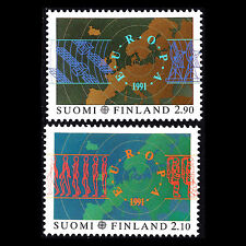 """Finland 1991 - EUROPA Stamps """"Space research"""" Maps - Sc 866/7 MNH"""