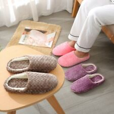 Women Lady Indoor Cotton Slippers Warm Bedroom Furry Slippers Anti-Slip Shoes