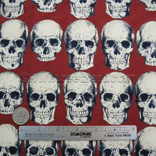 Alexander Henry RAD SKULLS Red Cotton Quilt Fabric by Yard Skeleton Day of Dead