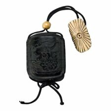 19th c. Four case black lacquer inro with ojime and netsuke, Meiji Period, Japan