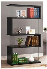 Display Bookcase Modern Shelving Wood Unit Cabinet 4 Shelves Black Storage Rack