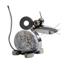 Steintier Maus ca. 11cm hoch aus Granit und Edelstahl Original Gebrüder Lomprich