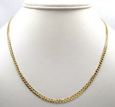"18K Solid Gold Cubano Cadena Collar de hombre mujer 2.5mm 16"" 18"" 20"" 22"" 24"" 30"""