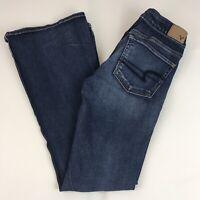American Eagle Boho Artist Flare Jeans Women's 4 Short Super Super Stretch Dark