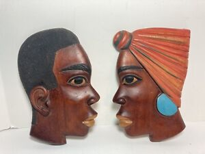 2 Hand Carved Wood Silhouette Profile Man Woman African Wall Hanging Signed 9""