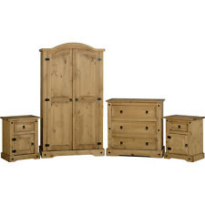 Corona Bedroom Set Distressed Waxed Pine Wooden Wardrobe Chest Bedside Cabinet