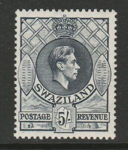 Swaziland 1938-54 5/- Grey Perf 13½ x 14 SG 37a Mint.