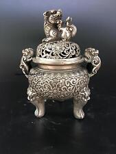 Chinese decorative manual Miao Silver Copper Carved Dragon Incense Burner
