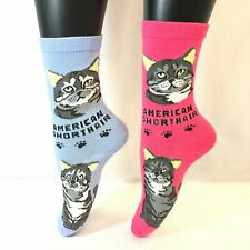 2 Pairs Foozys Women's Socks American Shorthair, Feline Collection, Cat Print