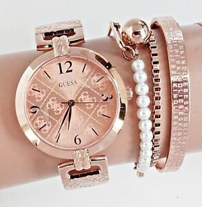 GUESS Watch Women's Watch W1228L3 G Luxe Bangle Stainless Steel IP Rose New