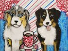 Mini Aussie Drinking Coffee Art Print 5 x 7 Australian Shepherd Collectible Dog