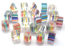 BEAUTIFUL RAINBOW HAND BLOWN CANE GLASS BEADS - YOU GET 25 BEADS - FREE FAST P&P