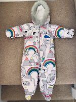 Rainbow Next Baby Girl Fleece Lined Snowsuit Onsie Winter Unicorn 9-12 Months