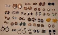 Job lot 37 pairs vintage clip on earrings old retro costume jewellery bundle