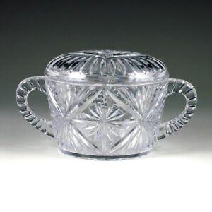 Clear Plastic Crystal Cut 8 oz Coffee Sugar Bowl