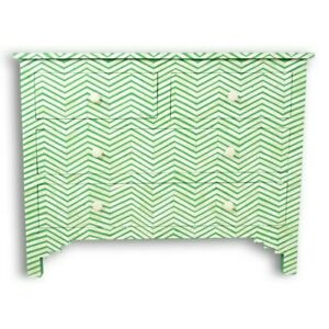 Bone Inlay Chest of 4 drawers Green Chevron Zigzag (MADE TO ORDER)