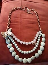 Fossil Brand Butterfly/Bee Faux Turquoise Beaded Antiquie GoldTone Necklace 22�