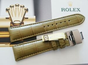 Genuine Alligator Leather Watch Strap Band Army Green for Rolex 21mm