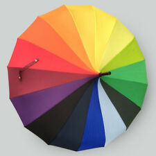 Multi-color bright modern windproof dome shaped rainbow/color wheel umbrella