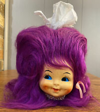 VINTAGE 1970s DOLL FACE HEAD Purple FLIP HAIR KLEENEX BOX TISSUE COVER DISPENSER