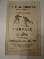 1922 HARVARD VS BROWN COLLEGE FOOTBALL OFFICIAL PROGRAM SCORE CARD - TUB A
