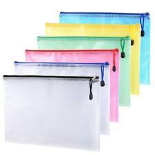 12Pcs Zipper File Bags A4 Size Mesh Document Office School Storage Organization
